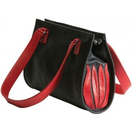 "Linde Van der Poel: Handtasche ""Black and Red Tulip"""